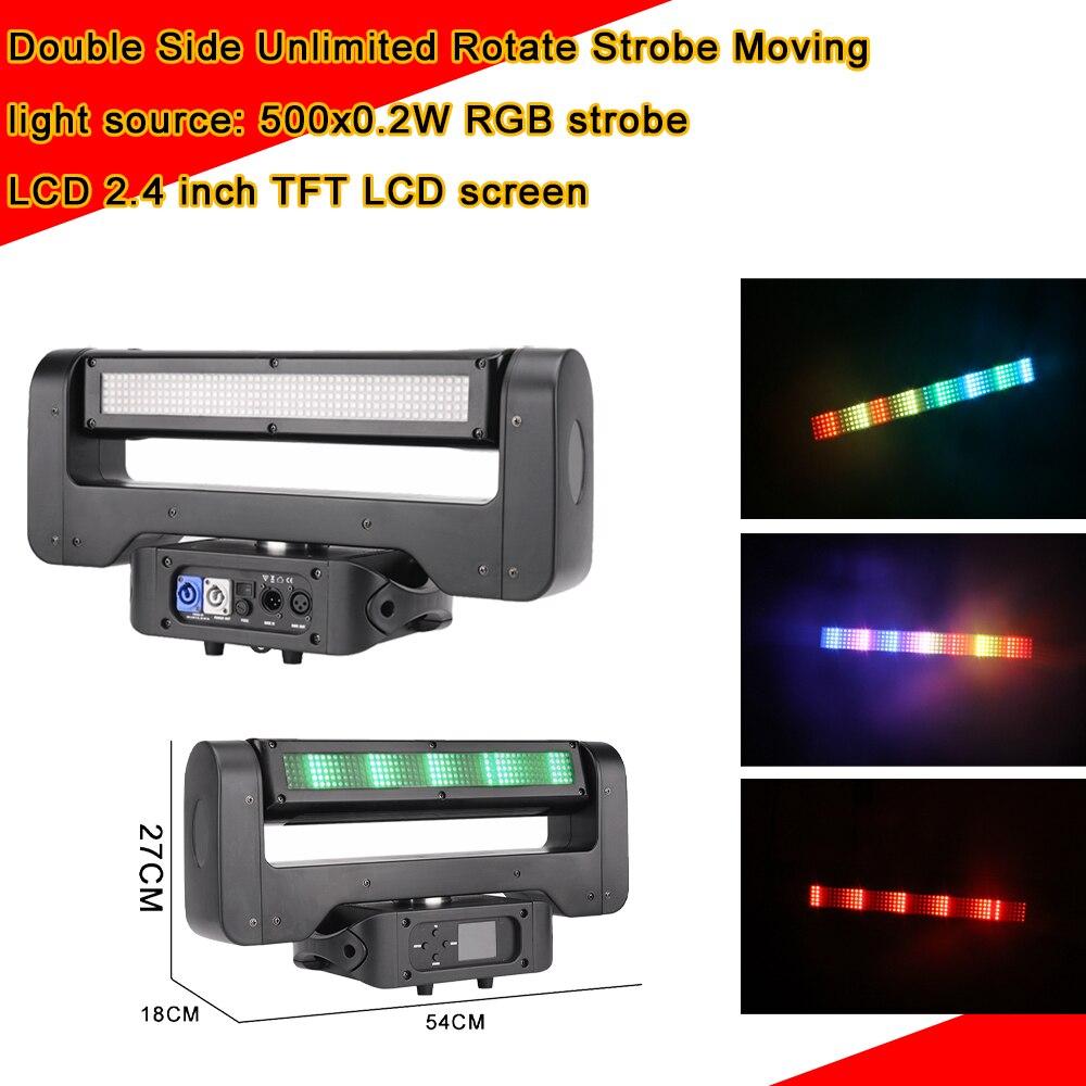 4Pcs/Lot LED 500X0.2W RGB 3IN1 Double Sides LED Moving Head Light DMX512 Stage Dj Lighting Effect Strobe Lights Wash Flash Light