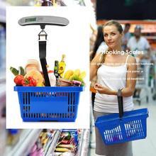 50 кг/110lb электронный Чемодан сумка с чешуйчатым ручной рыбы с ЖК-экраном и крюком промышленные весы Портативный, для покупок, путешествий, чемодан с ремешком