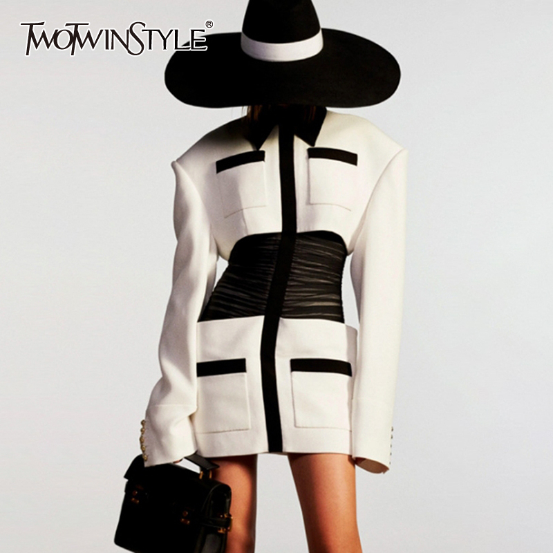 TWOTWINSTYLE Elegant Patchwork Women Dresses Lapel Collar Long Sleeve Tunic Mini Hit Color Summer Dress Female Fashion Clothes