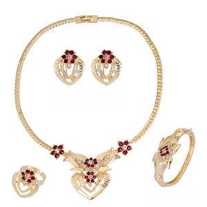 Европейские классические женские свадебные комплекты ювелирных изделий фиолетового красного цвета, колье, кольцо, серьги, браслет