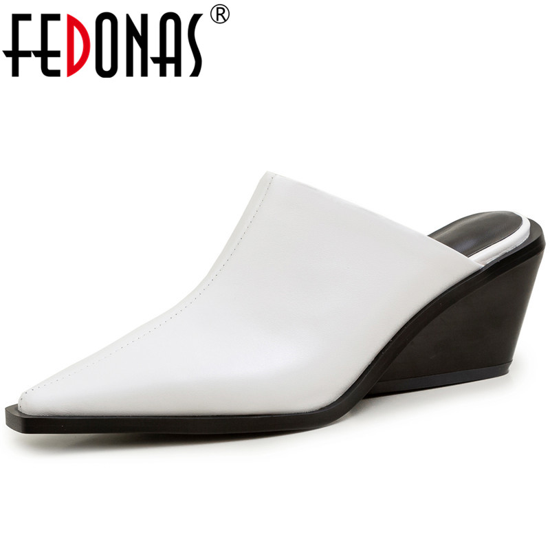 FEDONAS  Slippers 2020 Classic Design Cow Leather Pointed Toe High Heels Sandals Casual Shoes Summer Concise Slip On Shoes Woman