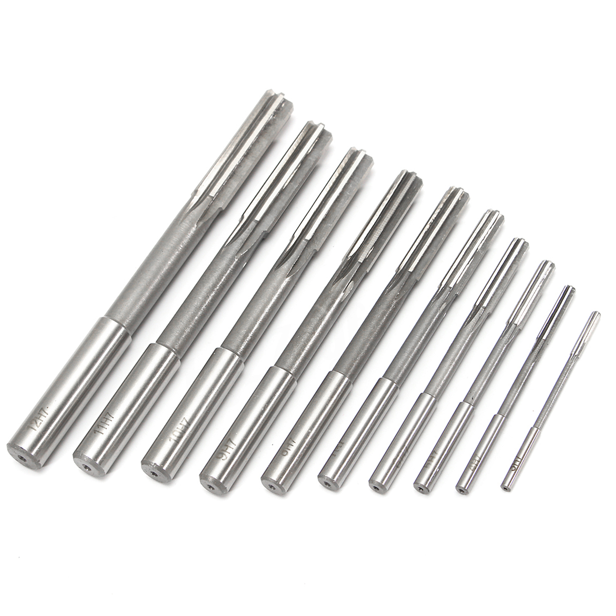 10pcs HSS H7 Straight Shank Milling Reamers Set Precision Chucking Machine <font><b>Cutter</b></font> Rotating Tools 3/4/5/6/7/<font><b>8</b></font>/9/10/11/12 <font><b>mm</b></font> image