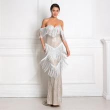 Sexy Tassels Striped Glittered Dress Strapless Low Cut Off The Shoulder Maxi DressParty Gown Silver Black