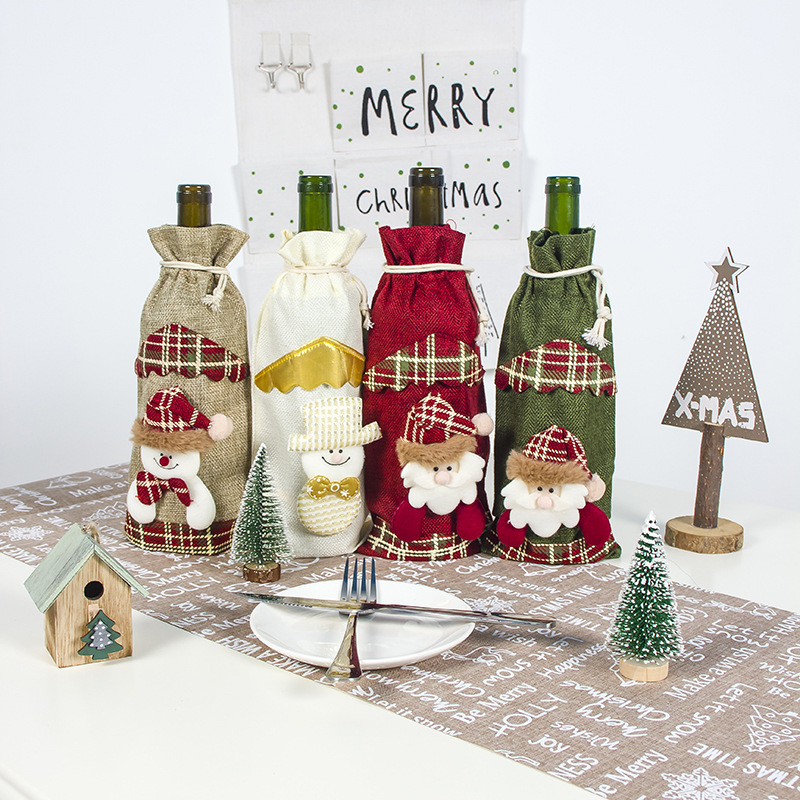 Christmas Party Supplies Wine Bottle Bag Cover Deer Snowman Santa Claus Pattern