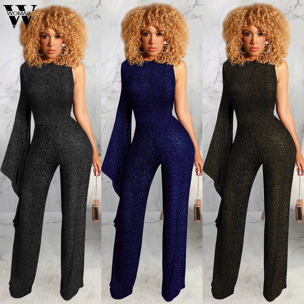 Womail Jumpsuit Women 2020 Elegant Summer One Shoulder Strapless Glitter Long Sleeve Jumpsuit Romper Loose Party Holiday