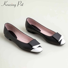 Ladies Shoes Loafers Pumps Low-Heels Round-Toe Mixed-Colors Natural-Leather Krazing Pot