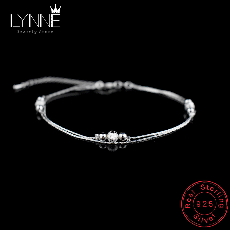 Hot Double Layers Ball Pendant Anklet 925 Sterling Silver Ladies Frosted Beads Anklets Bracelet Women Foot Chain Jewelry Gift