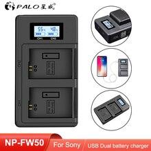 PALO NP FW50 NP FW50 LCD USB Dual ChargerสำหรับSony Alpha A6500 A6300 A7 7R A7R A7R II A7II NEX 3 NEX 3N NEX 5