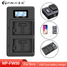PALO NP FW50 NP FW50 LCD USB Dual Charger for Sony Alpha a6500 a6300 a7 7R a7R a7R II a7II NEX 3 NEX 3N NEX 5