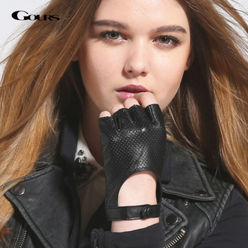 Gours Women Genuine Leather Gloves Black Fashion Real Goatskin Fingerless Gloves Fall and Winter Half Finger New Arrival GSL037 genuine leather gloves for women fingerless black fashion sheepskin wool one gloves winter half finger driving soft new arrival