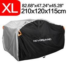 """Xl 210X120X115Cm Zwart Zilver 256Cm 100 """"190T Motorfiets Waterdichte Hoes Regen Stof zon Uv Quad Atv Protector Case Voor"""