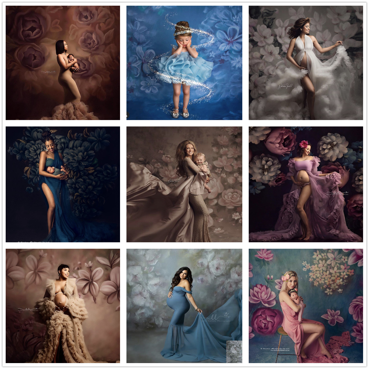 Photography Backdrop Oil Painting Flowers Pregnant Woman Baby Portraits Studio Professional Photo Custom Printed Background Prop