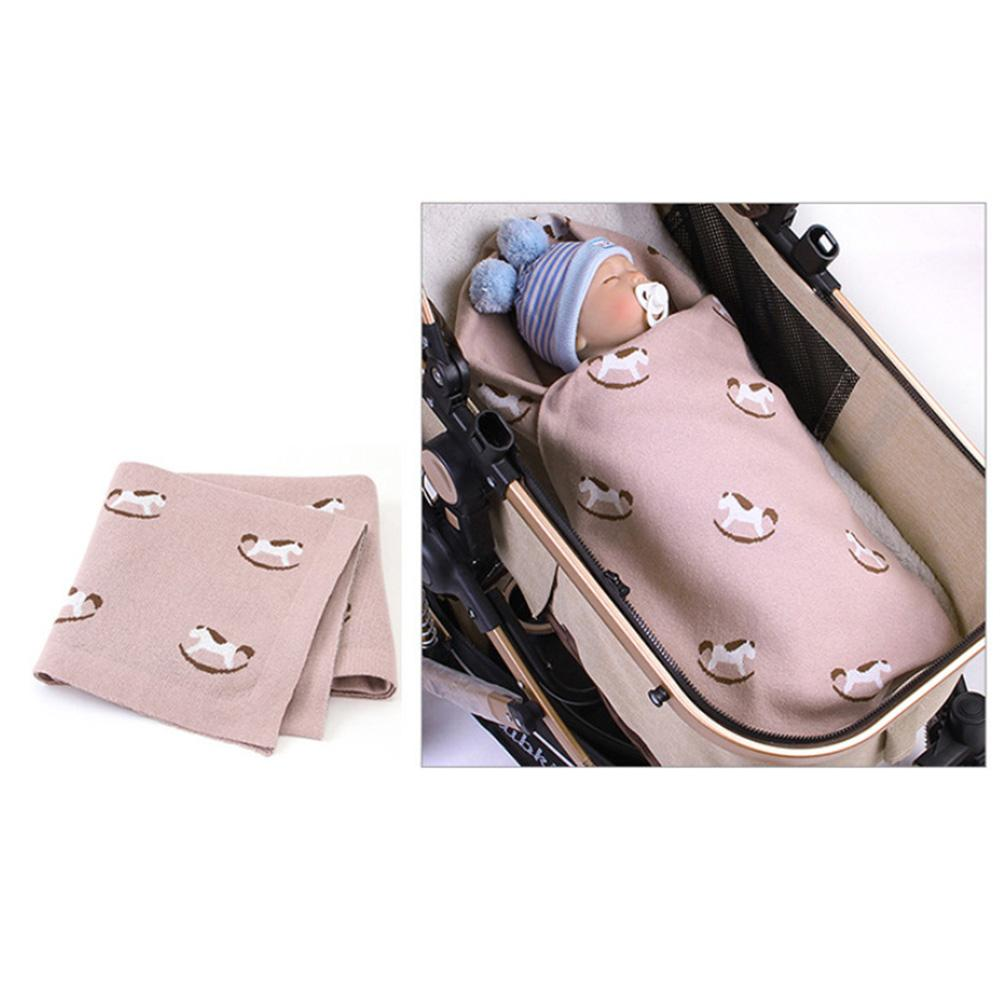 Spring Unisex Infant Baby Horse Print Cotton Swaddle Cozy Blanket Sleeping Sack
