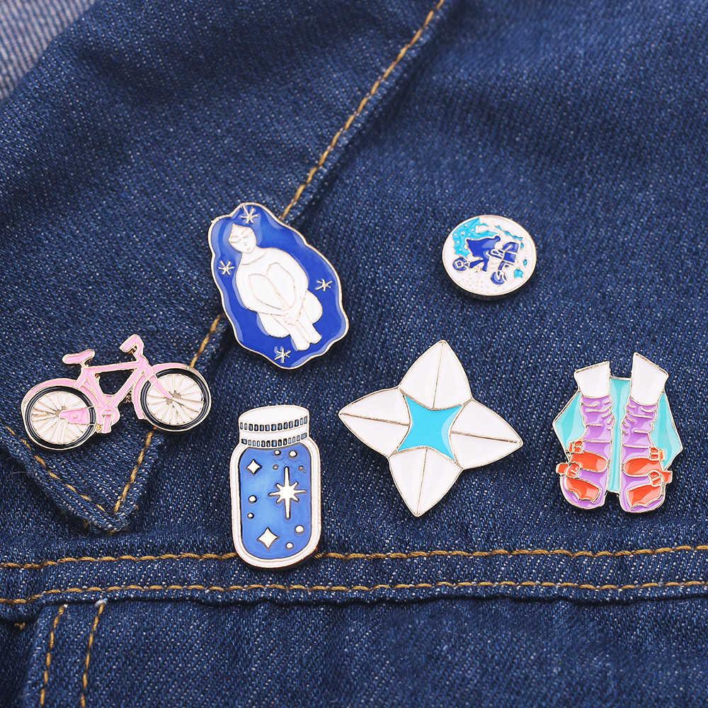 6 รูปแบบการ์ตูนเคลือบจักรยานความงามผมยาว Wishing ขวดถุงเท้า badge เข็มกลัดแฟชั่นกระเป๋าเสื้อ collar pin เครื่องประดับ