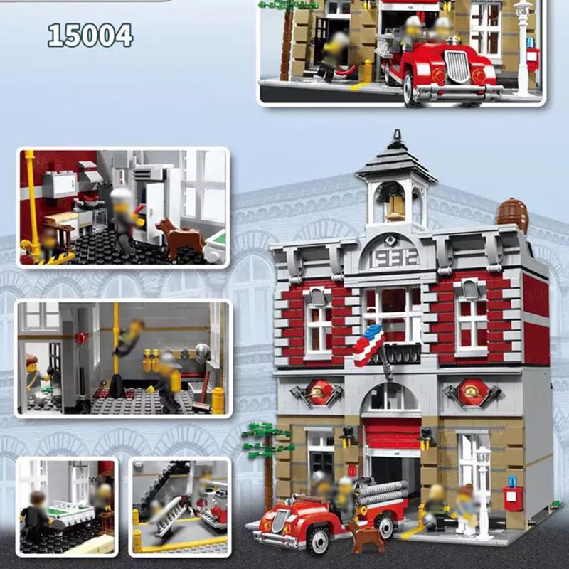 88004 Fire Brigade Station 2313 PCS Creator City StreetView Building Blocks Bricks DIY Toy Compatible <font><b>10197</b></font> Birthday Gift image
