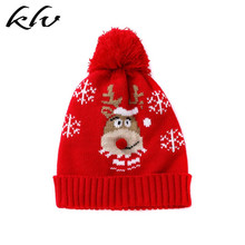 Toddler Kids Unisex Christmas Knitted Hat Cute Cartoon Deer Jacquard 3D Nose Winter Thicken Warm Cuffed Beanie Cap 1-6 Years Old цена