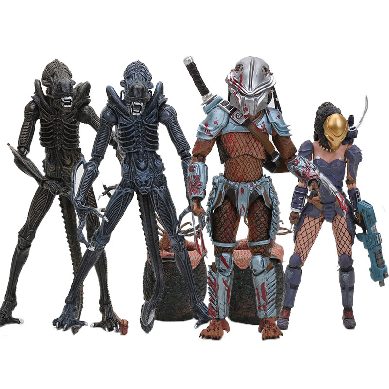 NECA Predator Series <font><b>Alien</b></font> vs Predator Machiko Noguchi Hornhead Predator <font><b>Alien</b></font> with Eggs PVC Action Figure Collectible Model image