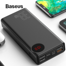 Baseus 30000 мАч Внешний аккумулятор usb type-C PD Быстрая зарядка для iPhone 11 Pro Max samsung Quick Charge 3,0 внешний аккумулятор