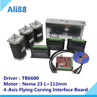 Nema 23 Stepper motor set:motor +TB6600 driver+ breakout board+350W power supply CNC Router 3 axis kit