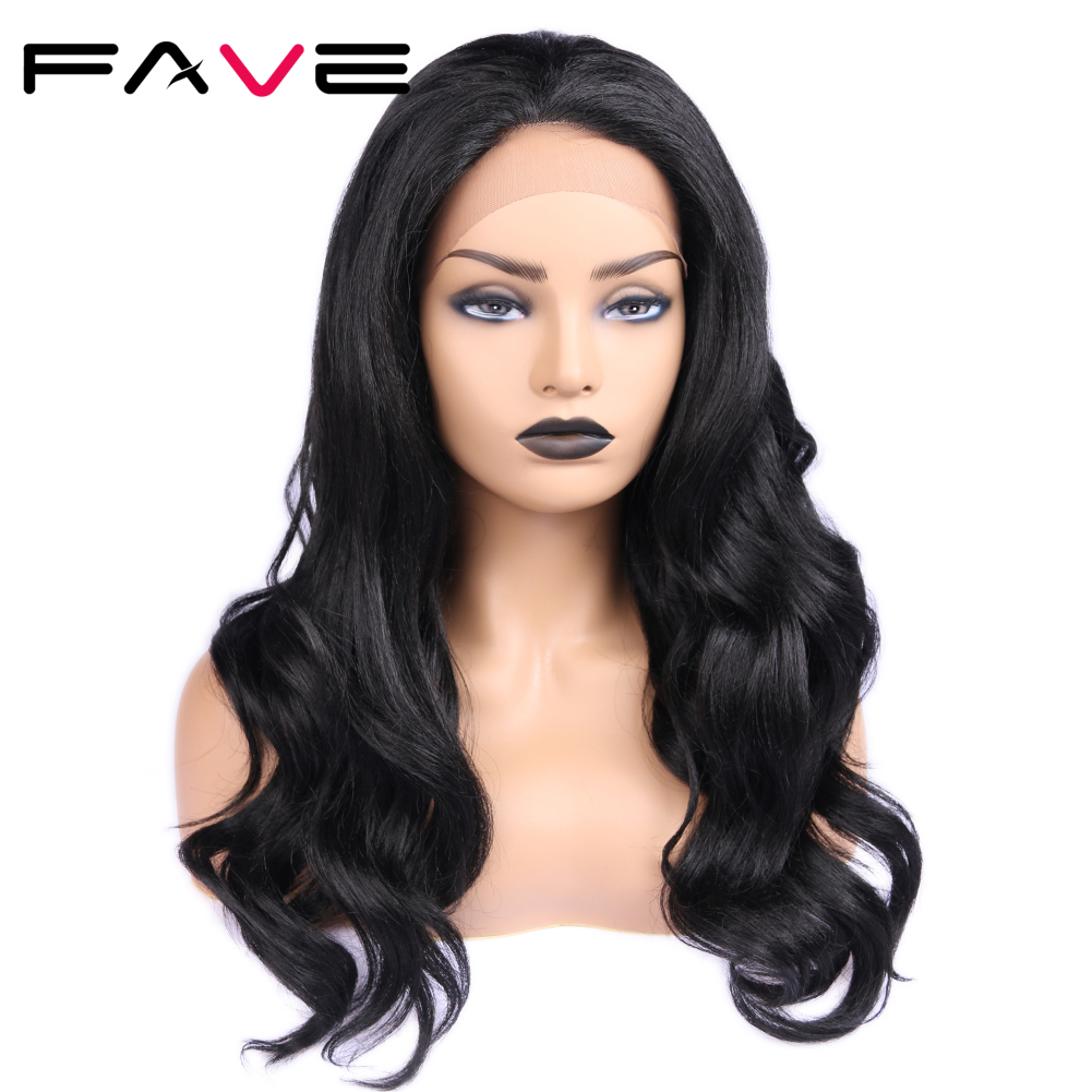 FAVE Natural Black Long Wavy Middle Part 1.5*30 Lace Front Synthetic Wigs Heat Resistant Fiber 24 Inch For Black Women Cosplay