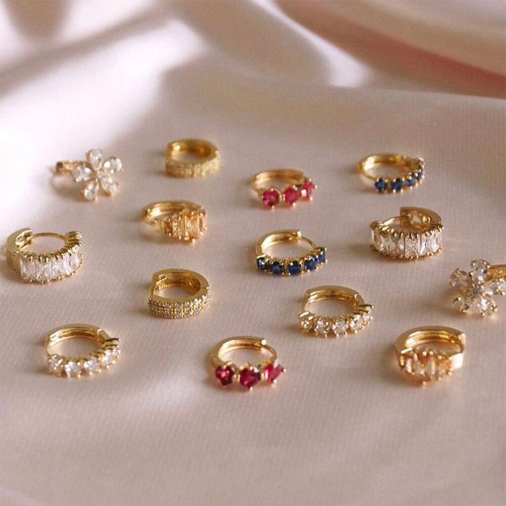 Fashion Colorful Crystal Small Hoop Earrings Clear CZ Geometric Circle Huggie Earrings For Women Jewelry