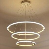 현대 Led 샹들리에 링 광택 조명 원격 제어 알루미늄 램프 다 이닝 룸 침실 레스토랑 Avize 비품