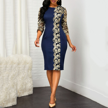 MD S - 5XL Plus Size Womens Clothing Dashiki African Dresses For Women Lace Flowers Patchwork Dress Evening Party 2020