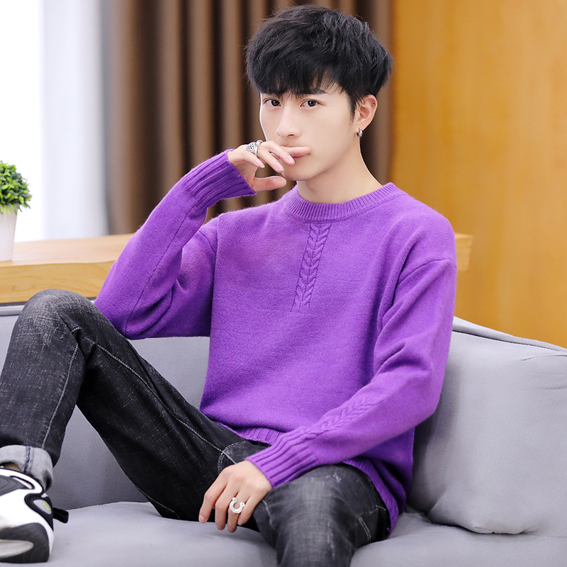 Winter Mens Sweaters Long Sleeve White Black Red Yellow Purple Blue Pullovers O-Neck Casual Solid Thick Sweater Men