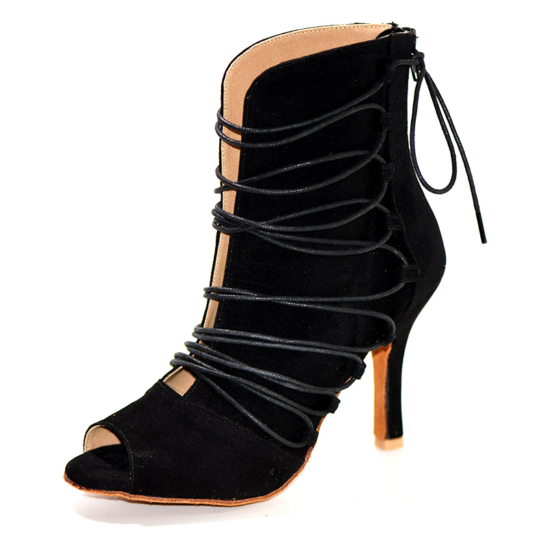 YOVE Dance Shoes W2001-1 Flock Bachata/Salsa/kizomba Dance Boot Women's 3.5