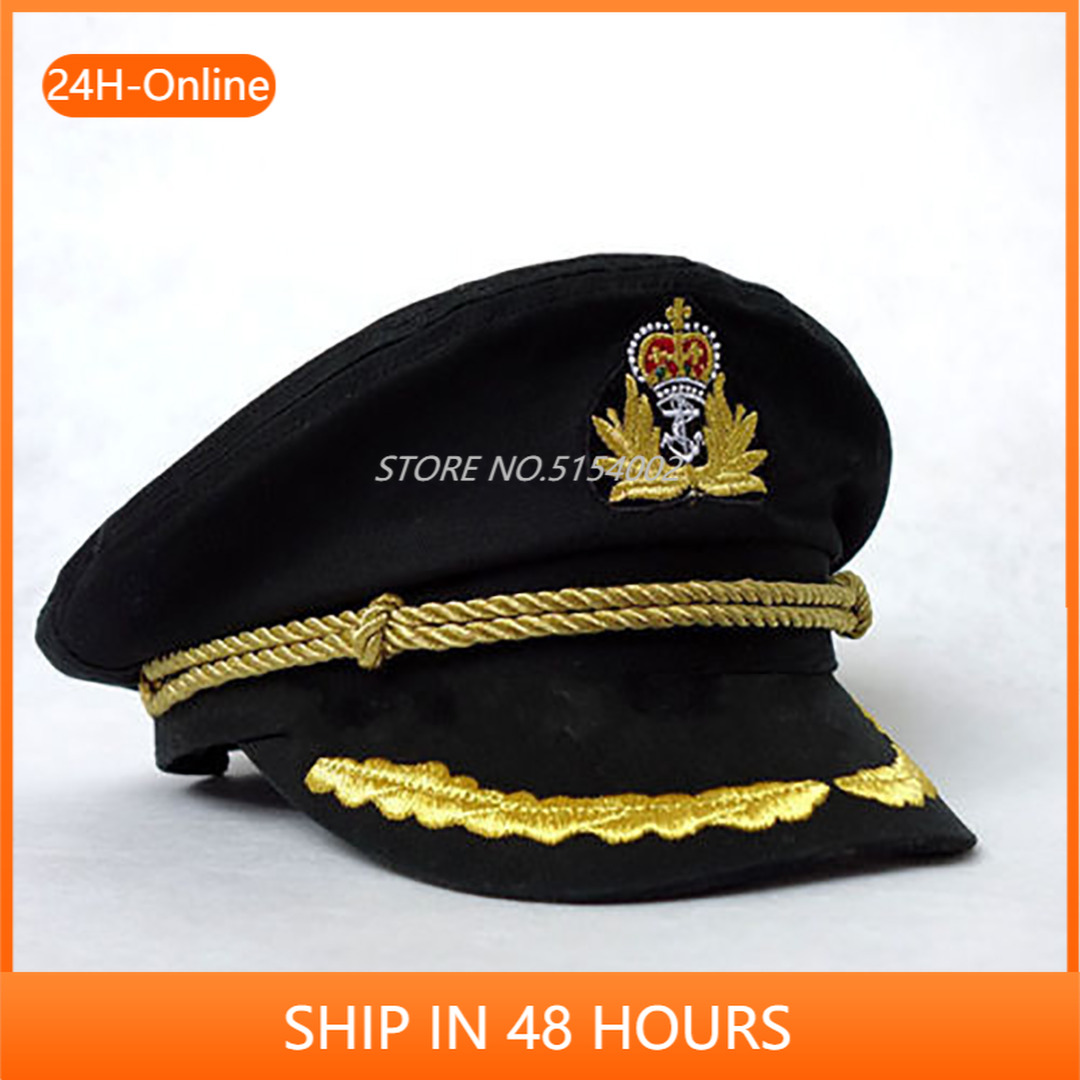 Men Hats Sailor Captain Hat Black White Uniforms Costume Party Cosplay Stage Perform Flat Navy Military Cap for Adult Men Women
