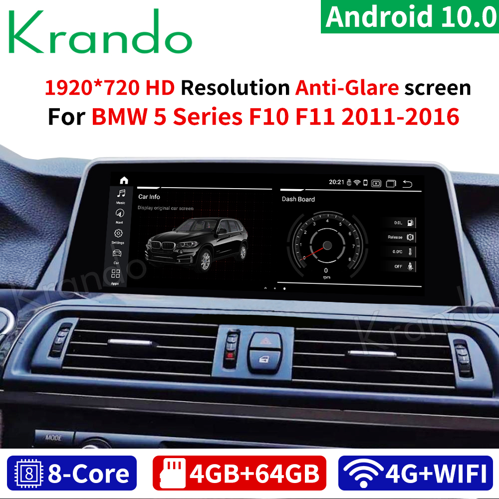 Krando Android 10.0 4G 64G 10.25'' Car Navi Audio For BMW 5 Series F10 F11 2011-2016 NBT CIC Multimedia Radio Stand Screen WIFI(China)