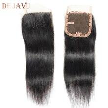 DEJAVU бразильские прямые 5X5 Кружева Закрытие 6-16 дюймов не Реми человеческие волосы закрытие отбеленные узлы швейцарское кружево с детскими волосами