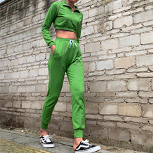 Ariel Sarah High Quality 2Pcs Women Sportswear Ladies Sport Suit Lapel Sweatshirt+High Waist Pants 2pcs/Sets Wear S-XL