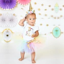 Vestido da menina do bebê com apliques animais vestidos unicórnio imprimir vestido de aniversário 1 ano menina do bebê vestido de aniversário da criança roupas de bebê