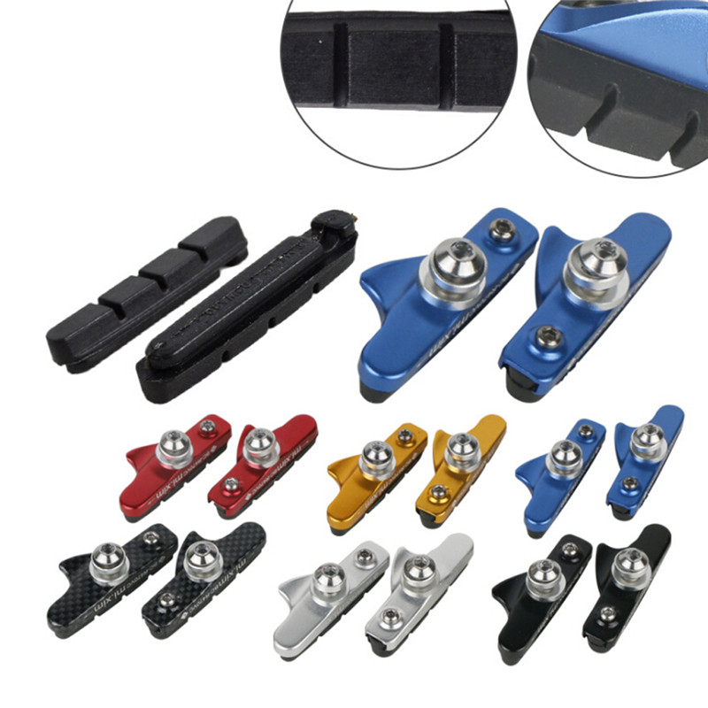 NEW 2 Pairs Bicycle MTB Road Bike Black rubber Brake Pads shoes 4 pack bolts on