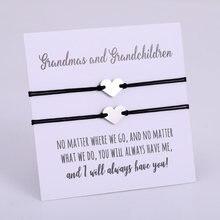 A SET-Heart Grandma Grandchildren Stainless Steel Charm Bracelets Best Friends Lover Women Girl Couple Adjustable Jewelry