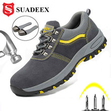 SUADEEX Thép Không Gỉ Mũi Nắp Giày Công Ngoài Trời Xây Dựng Giày Nam Nữ Đâm Thủng Chống Giày Công Nghiệp Làm Việc Sneakers