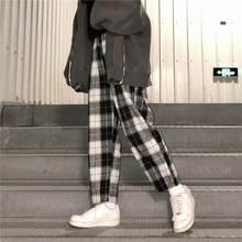 Dropshipping harajuku calças xadrez para calças femininas 2020 streetwear mulher harem calças outono senhoras causal calças mais tamanho