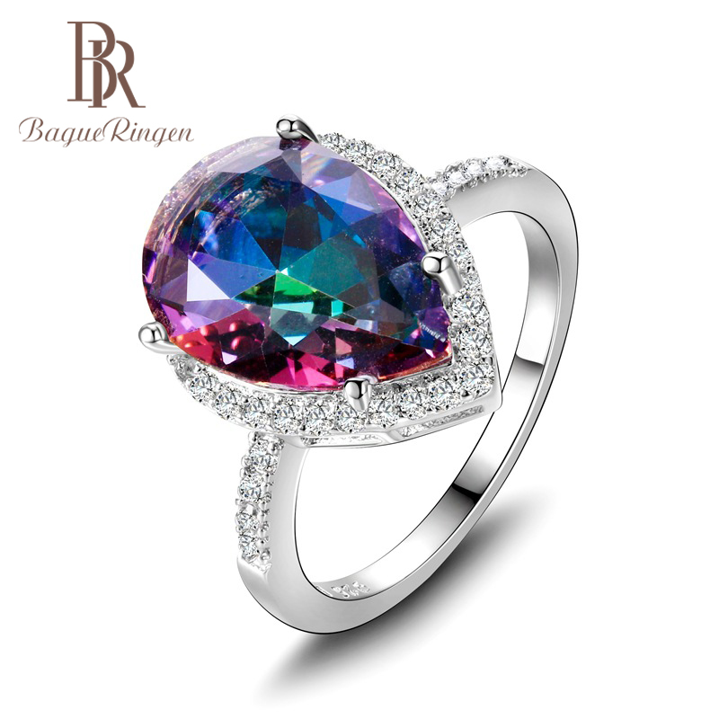 Bague Ringen Luxury Sterling Silver 925 Rings For Women Fine Jewelry Water Drop Shaped Gemstones Ruby Emerald Sapphire Topaz