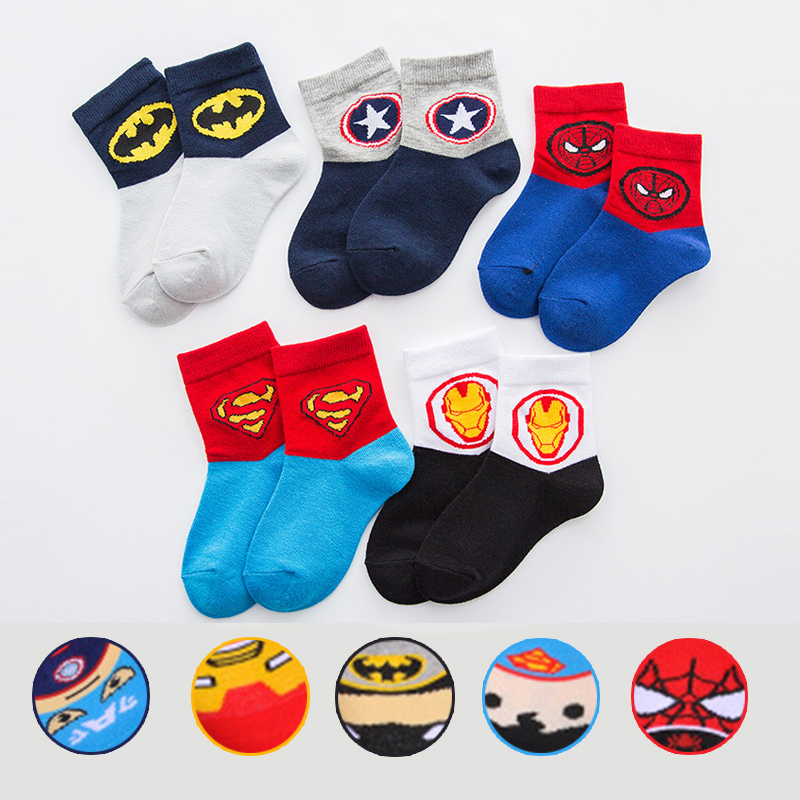 5pairs Boys Kids Cartoon Socks Super Hero Neonatal Autumn/winter Breathable Warm Girls Child Socks Baby Stuff Cotton Socks 2-12T