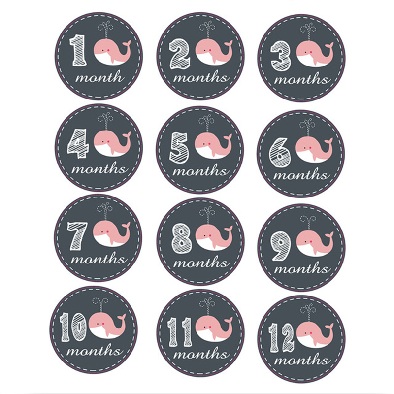 12PC Baby Monthly Stickers 1-12 Months Newborn Commemorative Photo Props Cartoon Infant Growth Photography Milestone Accessories
