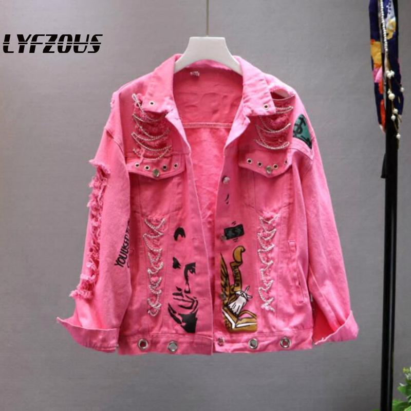 New Yellow Pink Jeans   Jacket   New Spring Autumn Women Graffiti Alphabet Print Chains Hole Denim   Jacket   Student Ripped   Basic   Coat