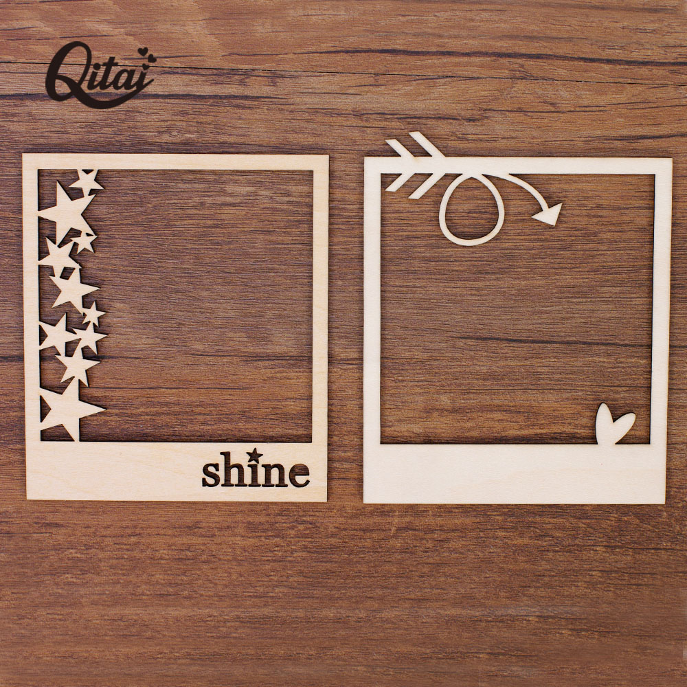 QITAI 12pcs/set 2 Design Love Wooden Photo Frame Handmade Crafts Home Decoration Scrapbooking Invitation Card DIY WF044