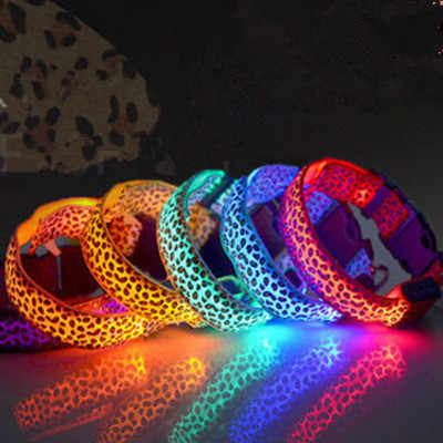 New Nylon LED Pet Dog Collar Night Safety Flashing Glowing Collar Leash for Dogs Luminous Fluorescent Pet Supplies XYR