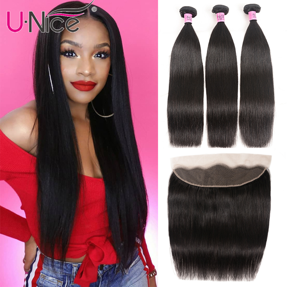 UNice Hair Transparent Lace Frontal Closure With Bundles 3/4PCS Peruvian Straight Human Hair Remy Bundle With 13X4/6 Frontal