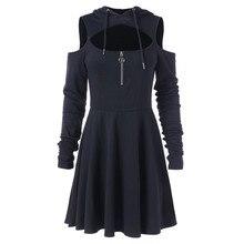 38 # sweat à capuche pour femme robe printemps décontracté noir à manches longues épaule ouverte Punk robe fille découpé Sexy Mini robes Streetwear