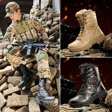 Tantu Men High-cut Military Tactical Boots Waterproof Outdoor Hunting Shoes Leather Hiking Trekking Non-slip Mountain Boot