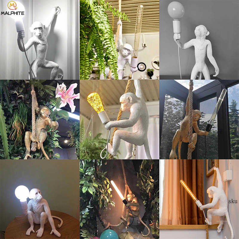 الراتنج سيليتي قلادة أضواء الراتنج الأبيض قرد الشمال قلادة مصباح مطعم بار مقهى تركيبات إضاءة ديكوريّة الصناعية