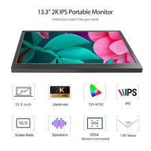ELECROW 13.3 Inch Portable Computer Monitor Hdmi Gaming Screen 2560x1440P HD Display for PS4 Laptop Phone Xbox Switch Computer