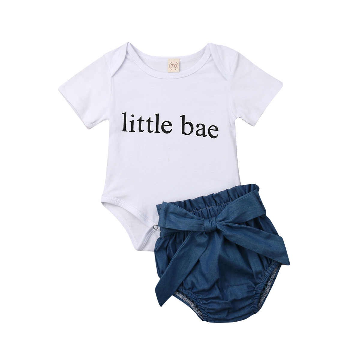 Newborn Infant Baby Girl Clothes Short Sleeves Little Bae Bodysuit Denim Shorts Casual Outfit